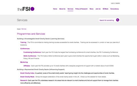 Screenshot of Services Page thefsi.org - Services | theFSI - captured Oct. 26, 2014