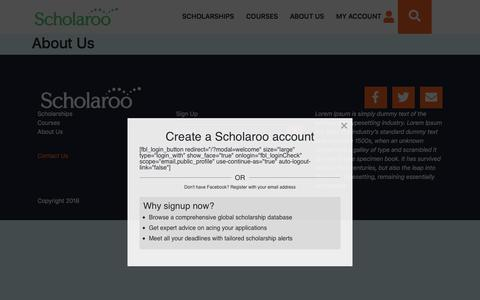 Screenshot of About Page scholaroo.com - About Us - Scholaroo - captured July 13, 2018