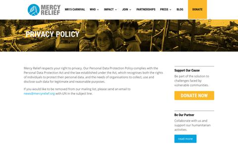 Screenshot of Privacy Page mercyrelief.org - Privacy Policy - Mercy Relief - captured Sept. 20, 2018