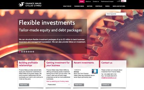 Screenshot of Home Page financewales.co.uk - Home | Finance Wales investing in the growth of Welsh SMEs - captured Sept. 23, 2014