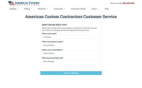 Screenshot of Support Page americancustomcontractors.com - American Custom Contractors Customer Service | Professional Remodelers - captured May 30, 2017