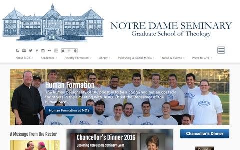 Screenshot of Home Page nds.edu - Notre Dame Seminary – Graduate School of Theology, Catholic Seminary - captured Feb. 15, 2016