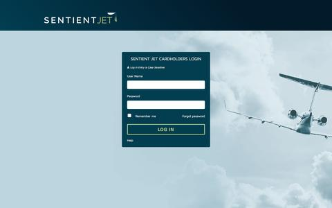 Screenshot of Login Page sentient.com - Login | Sentient Jet Cardholders - captured Sept. 22, 2016