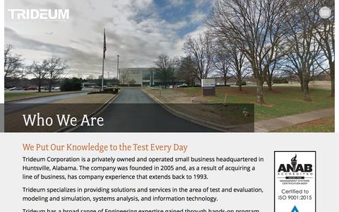 Screenshot of About Page trideum.com - Who We Are - Trideum - captured Dec. 2, 2017