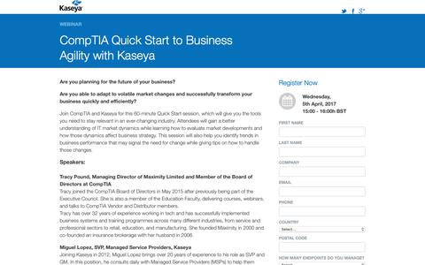Screenshot of Landing Page kaseya.com - Webinar: CompTIA Quick Start to Business Agility with Kaseya - captured Oct. 5, 2018