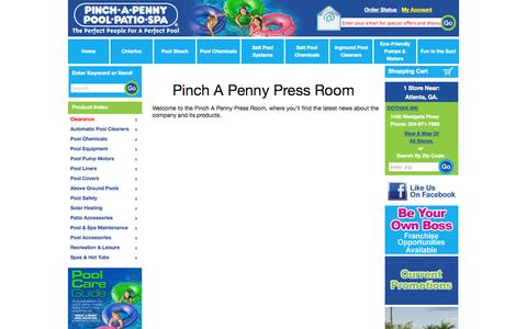Screenshot of Press Page pinchapenny.com - Press Room | Pinch A Penny Store - captured Sept. 25, 2014