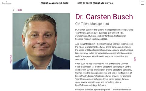 Screenshot of Team Page lumesse.com - Dr. Carsten Busch | Lumesse - captured April 19, 2018