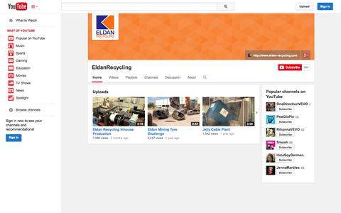 Screenshot of YouTube Page youtube.com - EldanRecycling  - YouTube - captured Oct. 22, 2014
