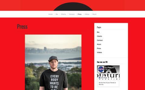 Screenshot of Press Page djplaturn.com - Press | - captured Sept. 28, 2018