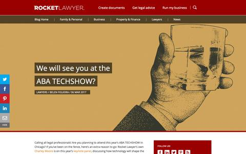 Screenshot of Blog rocketlawyer.com - We will see you at the ABA TECHSHOW? - Rocket Lawyer - captured April 29, 2019