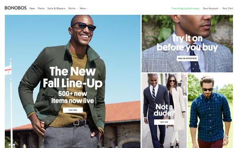 Screenshot of Home Page bonobos.com - Bonobos Men's Clothes - Pants, Shirts and Suits - captured Sept. 13, 2014