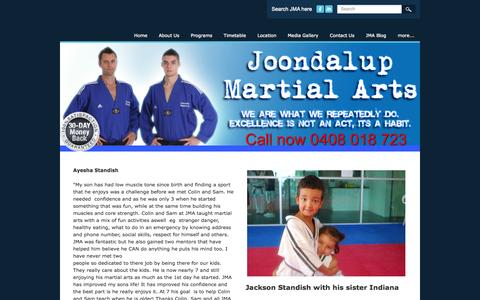 Screenshot of Testimonials Page joondalupmartialarts.com - Testimonials - Joondalup Martial Arts - captured Sept. 30, 2014