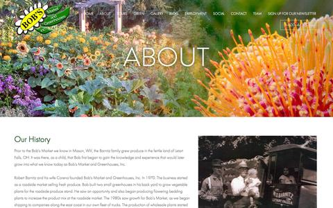 Screenshot of About Page bobsmarket.com - About - Bob's Market And Greenhouses Inc. - captured Oct. 5, 2014