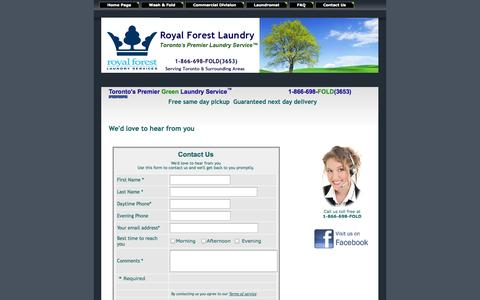 Screenshot of Contact Page Terms Page royalforestlaundry.com - Royal Forest Toronto Laundry Services / 24 Hour Coin Laundry / Laundromat Toronto Contact Us - captured Oct. 9, 2014