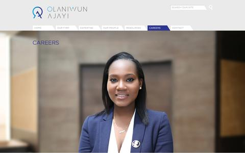 Screenshot of Jobs Page olaniwunajayi.net - Careers | Olaniwun Ajayi LP - captured Oct. 19, 2017