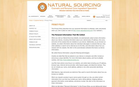 Screenshot of Privacy Page naturalsourcing.com - Privacy Policy | Natural Sourcing, LLC - captured Oct. 18, 2018
