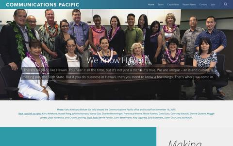 Screenshot of Home Page commpac.com - Communications Pacific - captured Jan. 30, 2016