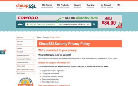 Screenshot of Privacy Page cheapsslsecurity.com - CheapSSLSecurity Privacy Policy - captured May 10, 2017