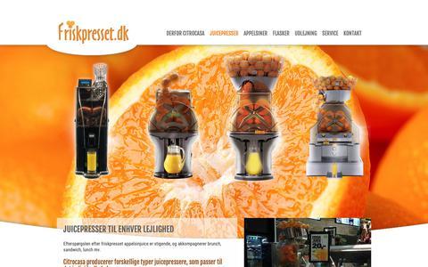 Screenshot of Home Page friskpresset.dk - Juicepressere og appelsinpresser i Holbæk - captured Oct. 11, 2018