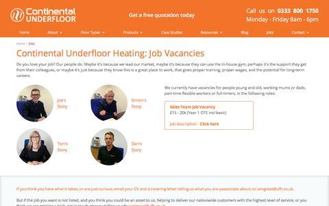Screenshot of Jobs Page ufh.co.uk - Underfloor Heating Systems – Jobs - captured Jan. 29, 2018