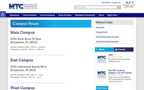 Screenshot of Hours Page manateetech.edu - Campus Hours - Manatee Technical College - captured Oct. 21, 2018