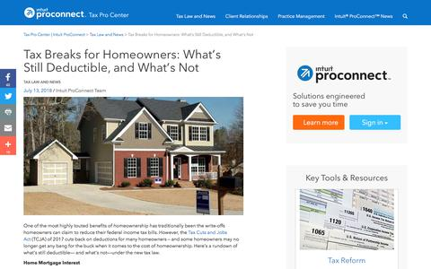 Screenshot of Press Page intuit.com - Tax Breaks for Homeowners: What's Still Deductible, and What's Not | Tax Pro Center | Intuit ProConnect - captured Nov. 21, 2019