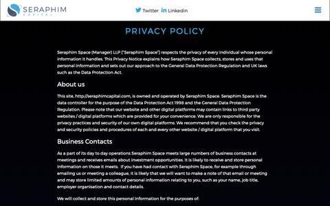Screenshot of Privacy Page seraphimcapital.co.uk - Privacy policy | Seraphim Capital - captured Nov. 4, 2018