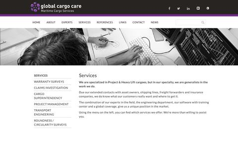 Screenshot of Services Page globalcargocare.com - Services - Global Cargo Care - captured Sept. 28, 2018