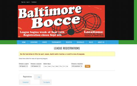 Screenshot of Locations Page baltimorebocce.com - Baltimore Bocce : Leagues - captured Nov. 3, 2014