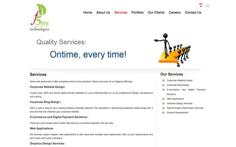 Screenshot of Services Page f5ive.com - Corporate Website,blog design | SEO Services Chennai,India | F5ive Technologies - captured Oct. 5, 2014