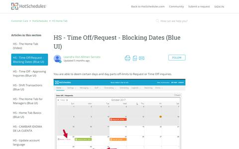 Screenshot of Support Page hotschedules.com - HS - Time Off/Request - Blocking Dates (Blue UI) – Customer Care - captured March 8, 2018