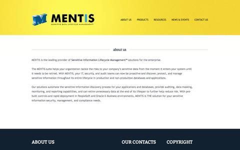 Screenshot of About Page mentisoftware.com - MENTIS | Sensitive Data Lifecycle Management™ : About us - captured Oct. 3, 2014