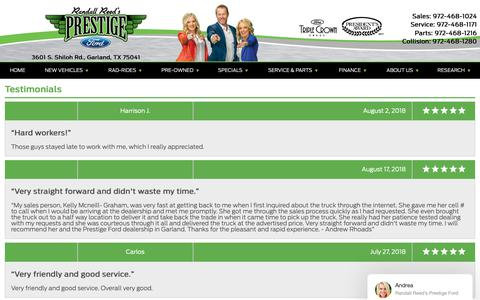 Screenshot of Testimonials Page prestigegarland.com - Customer Reviews, Testimonials - Prestige Ford - captured Oct. 19, 2018