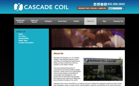 Screenshot of About Page cascadecoil.com - About Us - Cascade Coil - captured Sept. 29, 2014