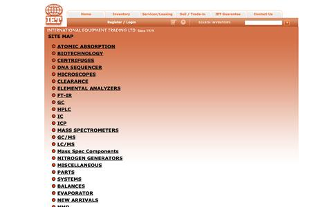 Screenshot of Site Map Page ietltd.com - International Equipment Trading Ltd - Refurbished Analytical Laboratory Equipment - captured Oct. 1, 2018
