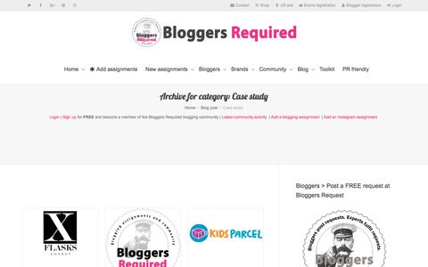 Screenshot of Case Studies Page bloggersrequired.com - Case study Category - Bloggers Required - captured Aug. 2, 2018