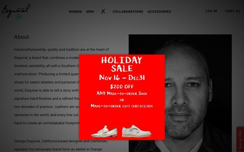Screenshot of About Page esquivelshoes.com - About – Esquivel - captured Dec. 8, 2018