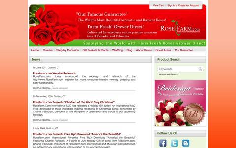 Screenshot of Press Page rosefarm.com - Rosefarm.com - In the News - captured Oct. 6, 2014