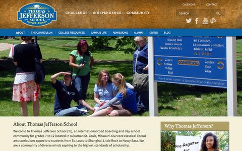 Screenshot of Home Page tjs.org - Thomas Jefferson School :: About - captured Oct. 9, 2014