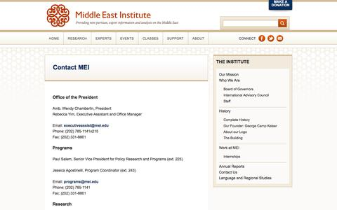 Screenshot of Contact Page mei.edu - Contact MEI   Middle East Institute - captured Sept. 22, 2018