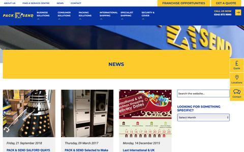 Screenshot of Press Page packsend.co.uk - News - Pack and Send - captured Sept. 26, 2018