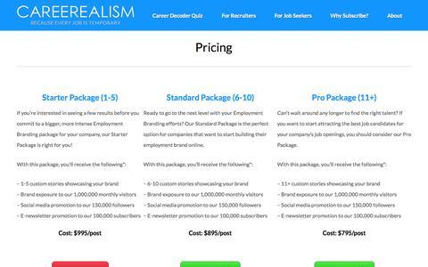 Screenshot of Pricing Page careerealism.com - Employment Branding Pricing   CAREEREALISM - captured July 3, 2015