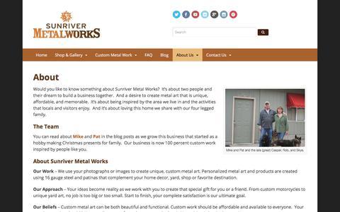 Screenshot of About Page sunrivermetalworks.com - About Sunriver Metal Works, about fun,and about a new start - captured June 19, 2017