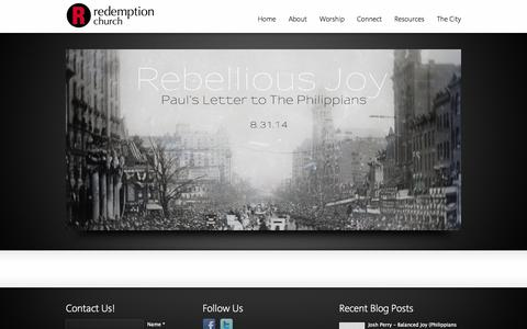 Screenshot of Home Page redemptionchurch.me - Redemption Church - captured Oct. 6, 2014
