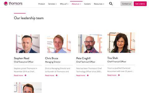 Screenshot of Team Page thomsons.com - Leadership | Thomsons Online Benefits - captured Feb. 20, 2020