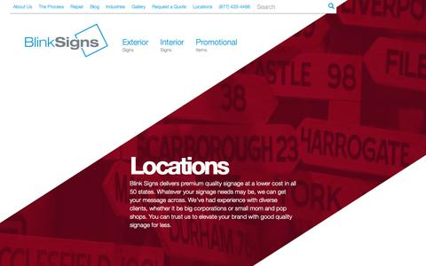Screenshot of Locations Page blinksigns.com - Blinksigns Locations | Business signs & company signs| Sign Company | Blink Signs - captured Oct. 6, 2018