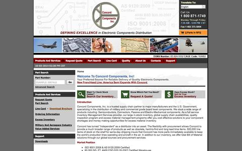 Screenshot of Home Page concordcomponents.com - Concord Components Inc - Your Preferred Source For Reliable Delivery of Quality Electronic Components - captured Oct. 3, 2014