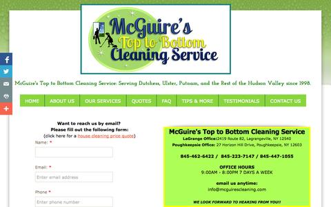 Screenshot of Contact Page mcguirescleaning.com - McGuire's Cleaning Services - captured Oct. 27, 2014
