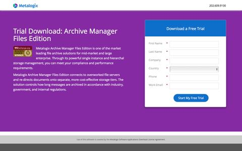 Screenshot of Landing Page metalogix.com - Trial Download: Archive Manager Files Edition - captured April 5, 2017