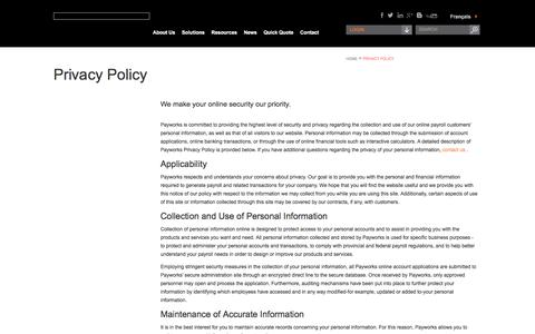 Privacy policy for Payworks Payroll Services Canada